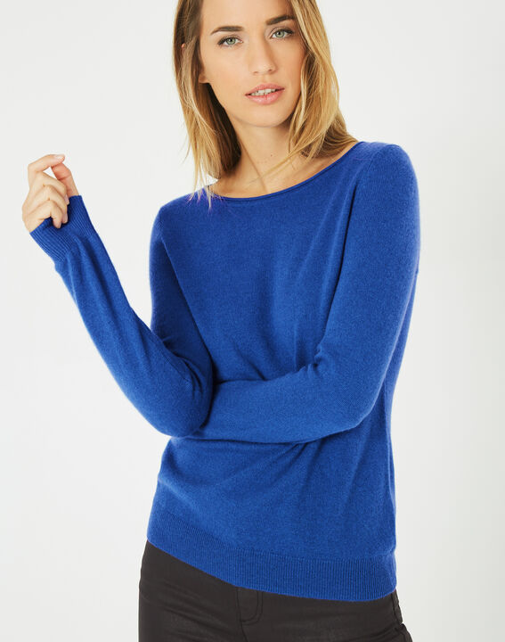 Petunia royal blue, cashmere sweater with round neck (2) - 1-2-3