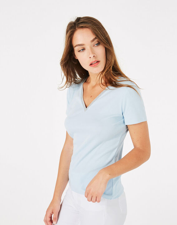 Tee-shirt bleu ciel col strassé Neck (3) - 1-2-3