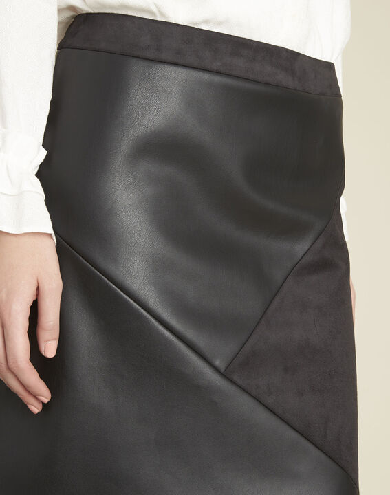 Abby black trapezoid faux leather skirt (3) - 1-2-3