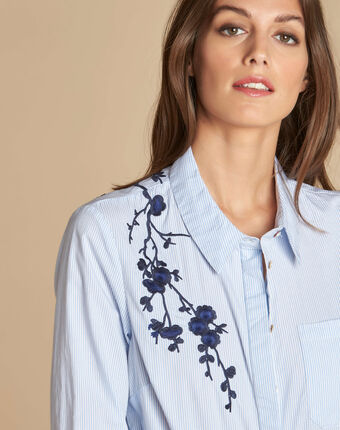 Delinda embroidered striped shirt blue.