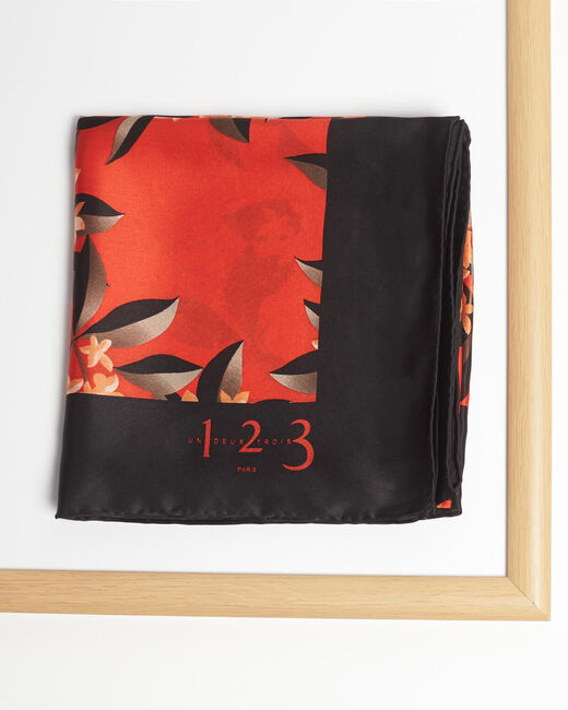 Anita red silk square scarf with floral print (1) - 1-2-3