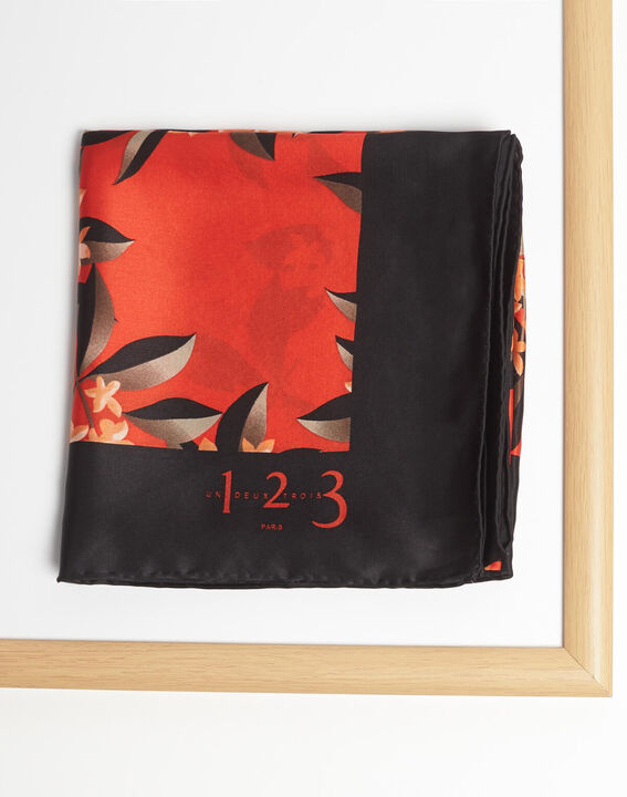 Anita red silk square scarf with floral print (2) - 1-2-3
