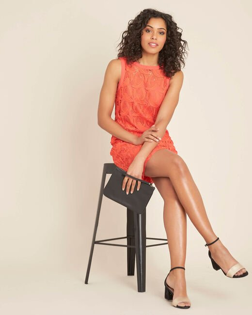 Iska coral short dress in lace (1) - 1-2-3