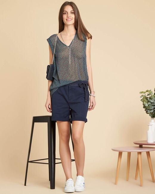 Lenaelle sleeveless navy top with pattern (2) - 1-2-3