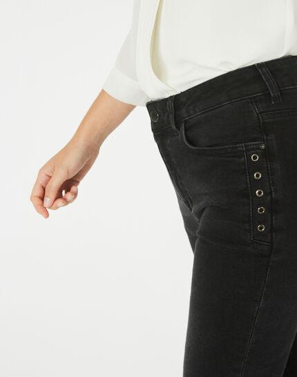 Schwarze 7/8-Jeans mit Reißverschlüssen Nori (3) - 1-2-3