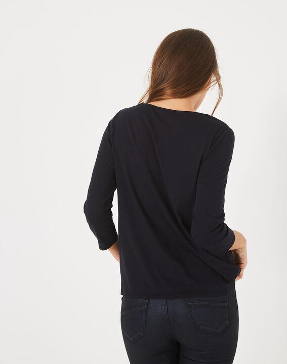 Tee-shirt marine imprimé fleurs Babydoll (4) - 1-2-3