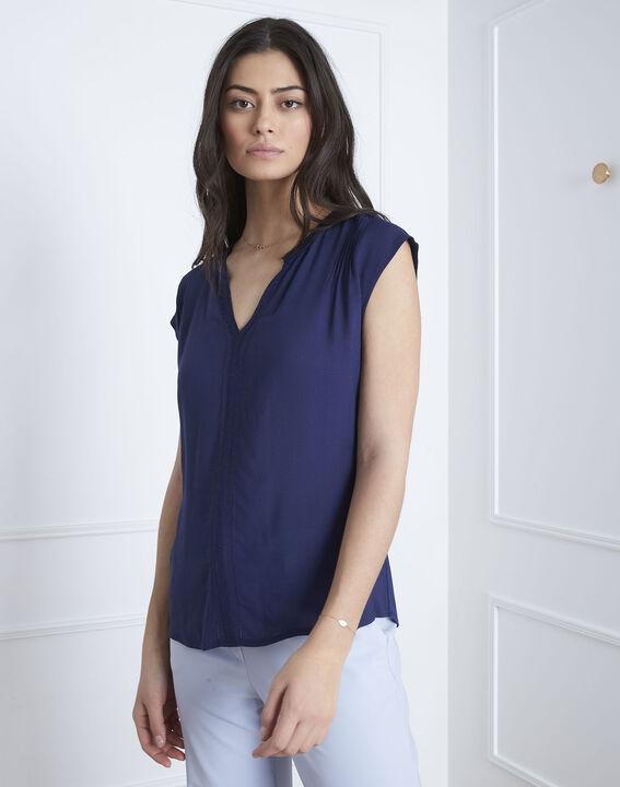 66eeafe3ef468b Vanissa navy bi-material blouse - Maison Cent Vingt-Trois
