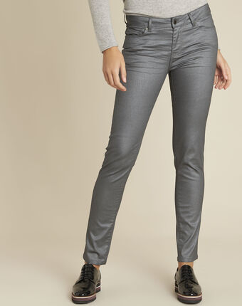 Grijze slim-fit jeans met metallic coating vendome anthracite.
