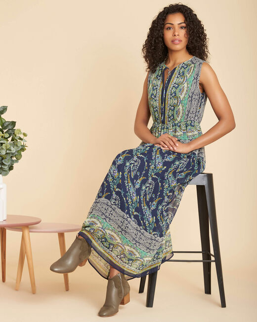 Robe bleue longue imprimée Paillette (1) - 1-2-3