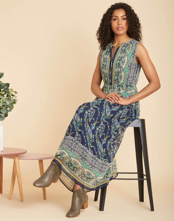Paillette long blue printed dress (2) - 1-2-3