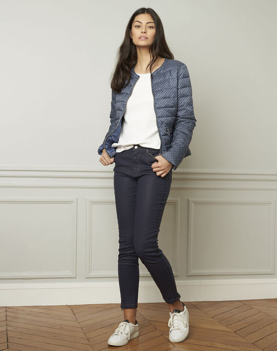 Opéra navy coated slim-fit 7/8 jeans with zip details (2) - 1-2-3