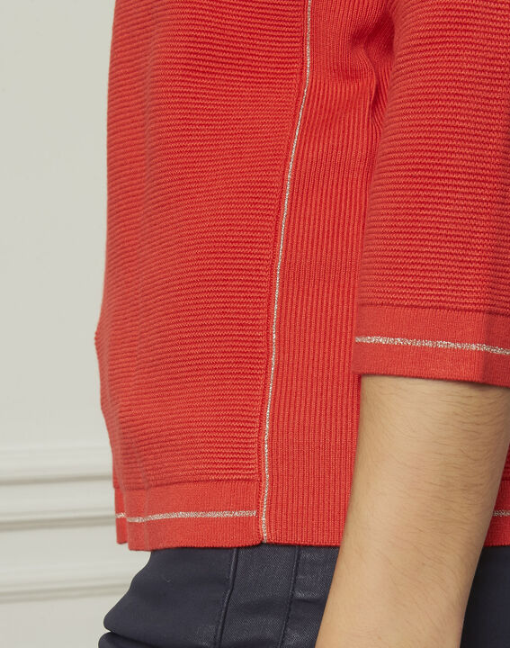Avocado red pullover with buttons and lurex details (4) - 1-2-3