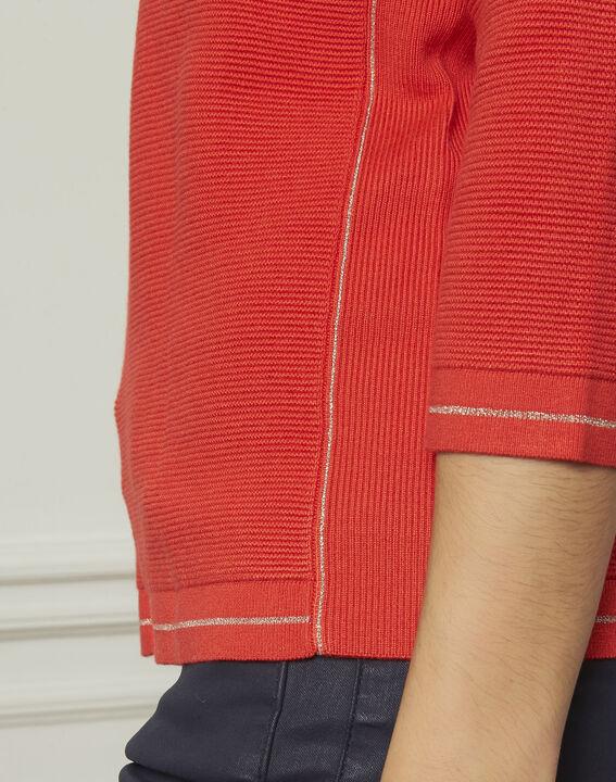 Pull rouge détails boutons et lurex Avocado (4) - Maison 123