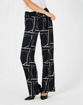 Pantalon noir imprimé fluide bande côté kamelia noir.