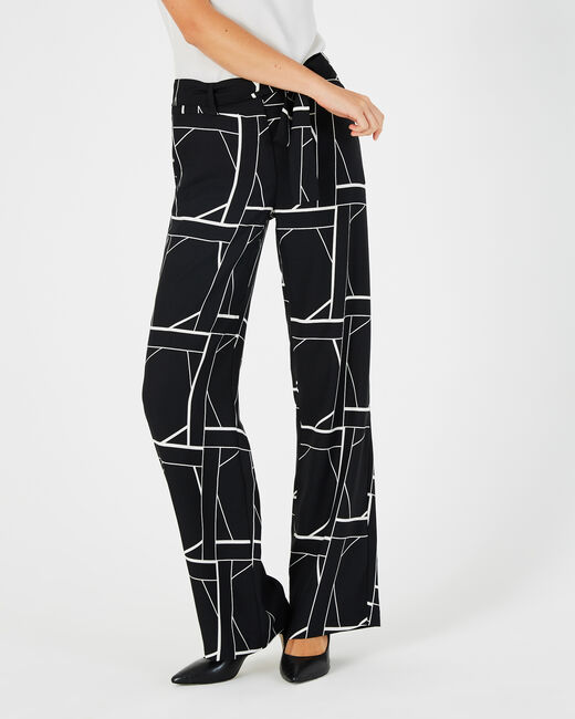 Kamelia black printed trousers with side strip (2) - 1-2-3