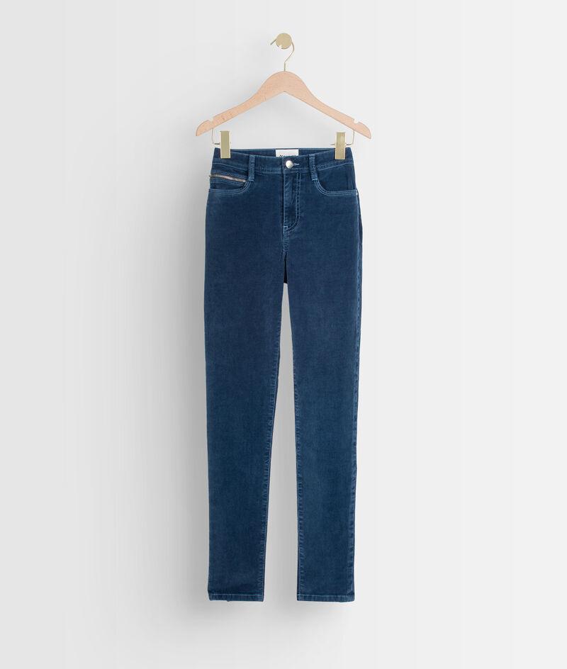 Pantalon slim en velours milleraies bleu Sultan PhotoZ   1-2-3