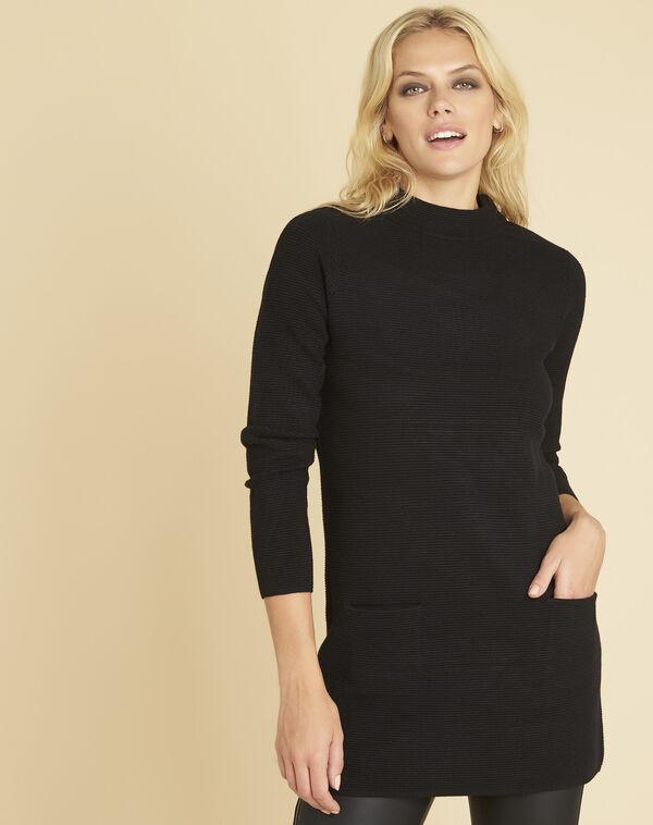 Robe pull noire col montant Belinda (1) - 1-2-3