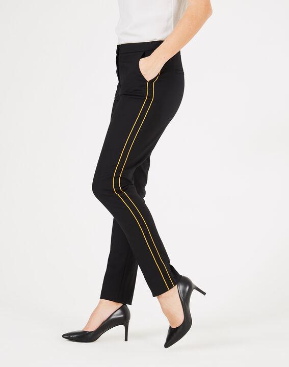 Pantalon de tailleur noir à bandes Voda (2) - 1-2-3
