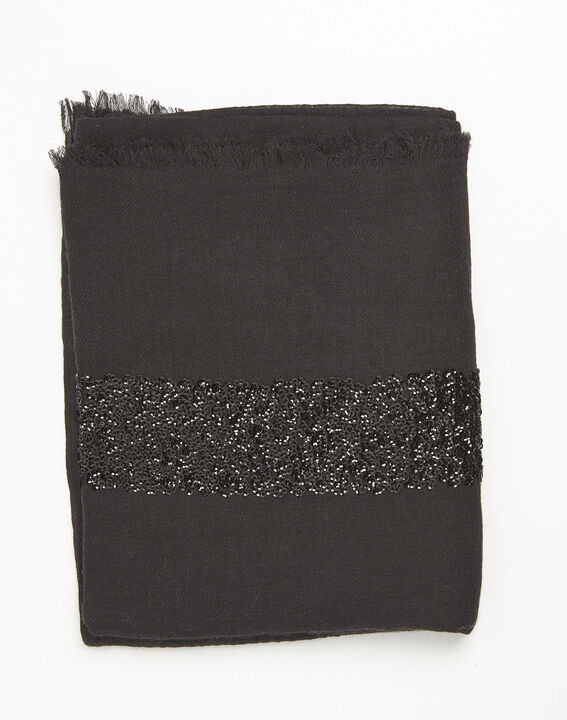 Fiona black wool blend scarf with sequins PhotoZ | 1-2-3