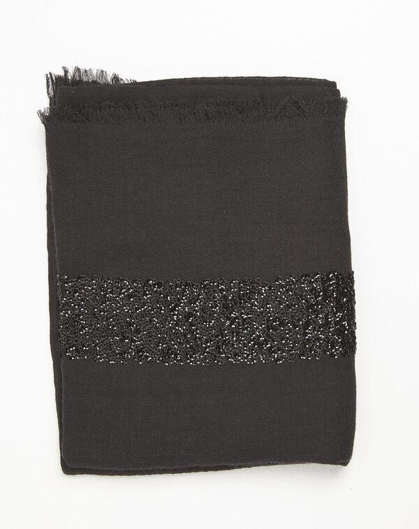 Foulard noir sequins en laine mélangée Fiona (2) - 1-2-3