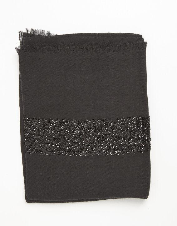 Foulard noir sequins en laine mélangée Fiona PhotoZ | 1-2-3