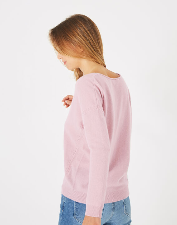 Piment pink cashmere sweater with V-neck (4) - 1-2-3