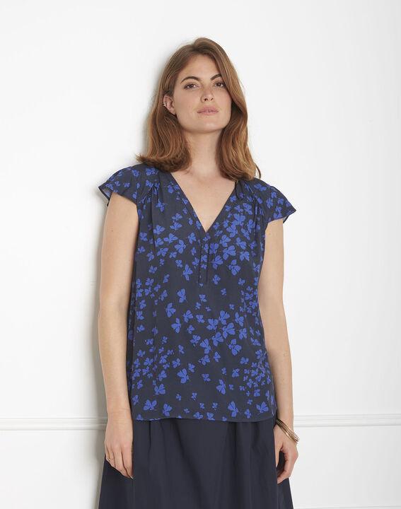 Marineblaue Bluse mit Blumen-Print Var PhotoZ   1-2-3