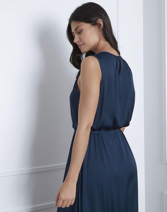 Langes Kleid in dunkelgrünem Satin Ivana (4) - Maison 123