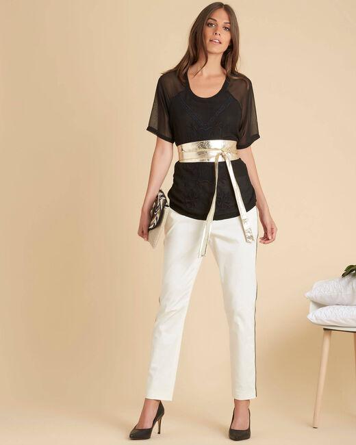 Zwarte blouse met geborduurde tule Galega (1) - 37653