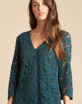 Poésie forest green dress with lateral bands in lace dark teal.
