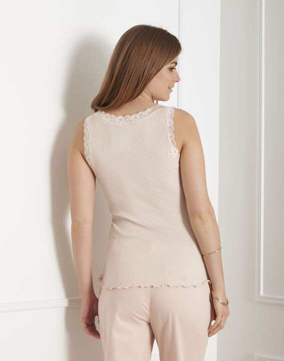 Guest nude vest top in cotton and silk with lace neckline (3) - 1-2-3