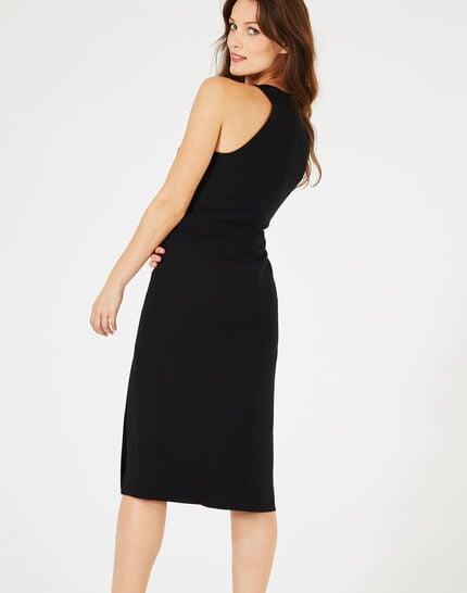 Schwarzes Schlitz-Kleid mit Strass-Ausschnitt Grenade (3) - 1-2-3