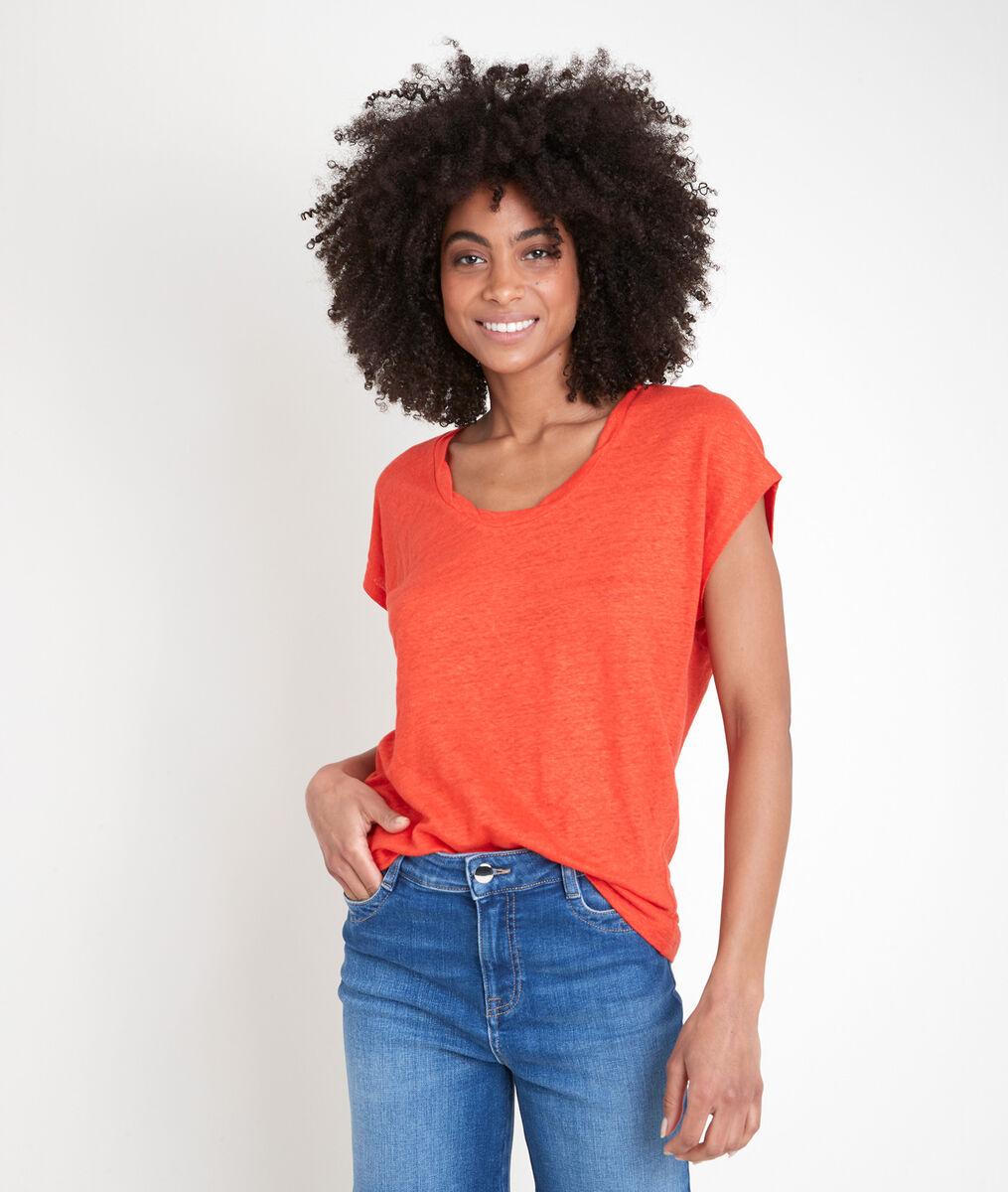Tee-shirt en lin biologique corail Icool PhotoZ | 1-2-3