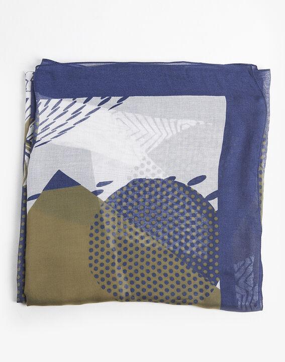 Groene sjaal van zijde en modaal met grafische print Flamme PhotoZ | 1-2-3