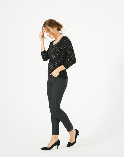 Prisme black sweater with golden polka dot detailing and a rounded neckline (3) - 1-2-3