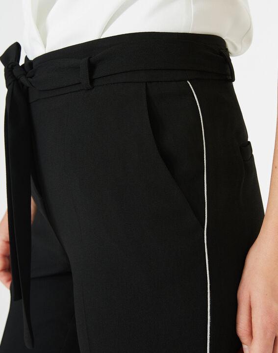 Pantalon noir en crêpe Karoline (4) - 1-2-3