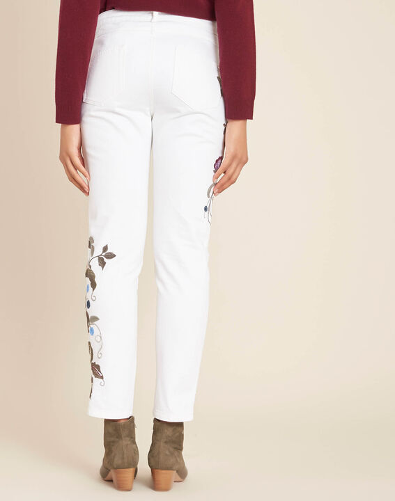 Vendôme white embroidered slim-cut 7/8 length jeans (4) - 1-2-3
