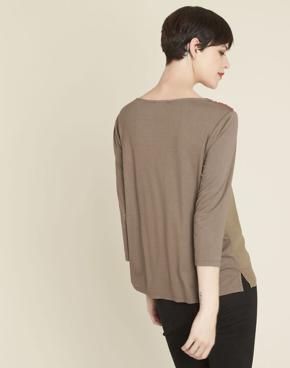 Coralie bi-material khaki blouse with jewel detailing on the shoulders (4) - 1-2-3