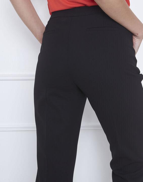 Pantalon noir droit en microfibre à ceinture boutonnée Hugo (3) - Maison 123