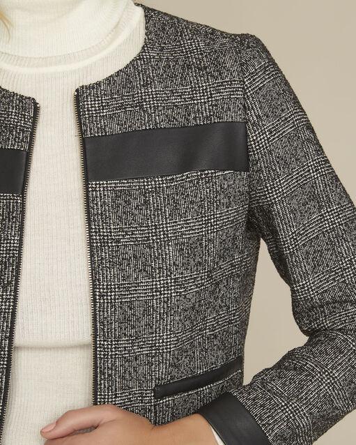 Veste noire bimatière empiècement faux cuir Sophia (2) - 1-2-3