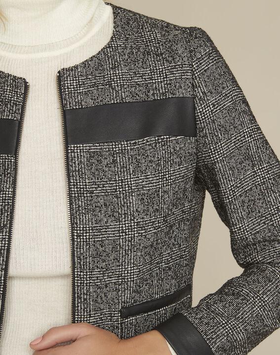 Schwarze Jacke aus Bimaterial mit Kunstleder-Einsätzen Sophia (3) - 1-2-3