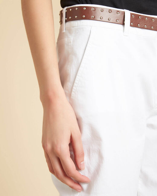 Pantalon slim blanc coton 7/8 Francis (2) - 1-2-3