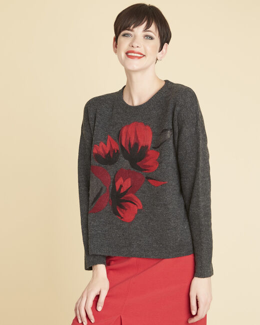 Bruyere charcoal sweater with floral print (2) - 1-2-3