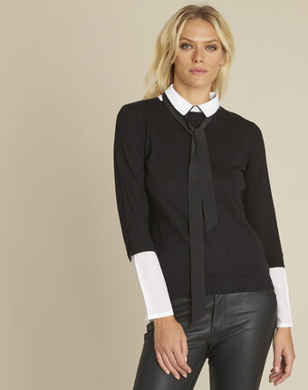 Bauline black pullover with shirt-style collar black.