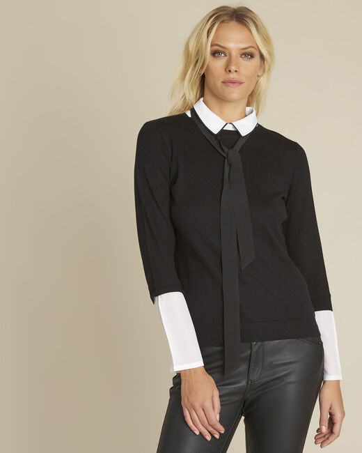 Bauline black pullover with shirt-style collar (2) - 1-2-3