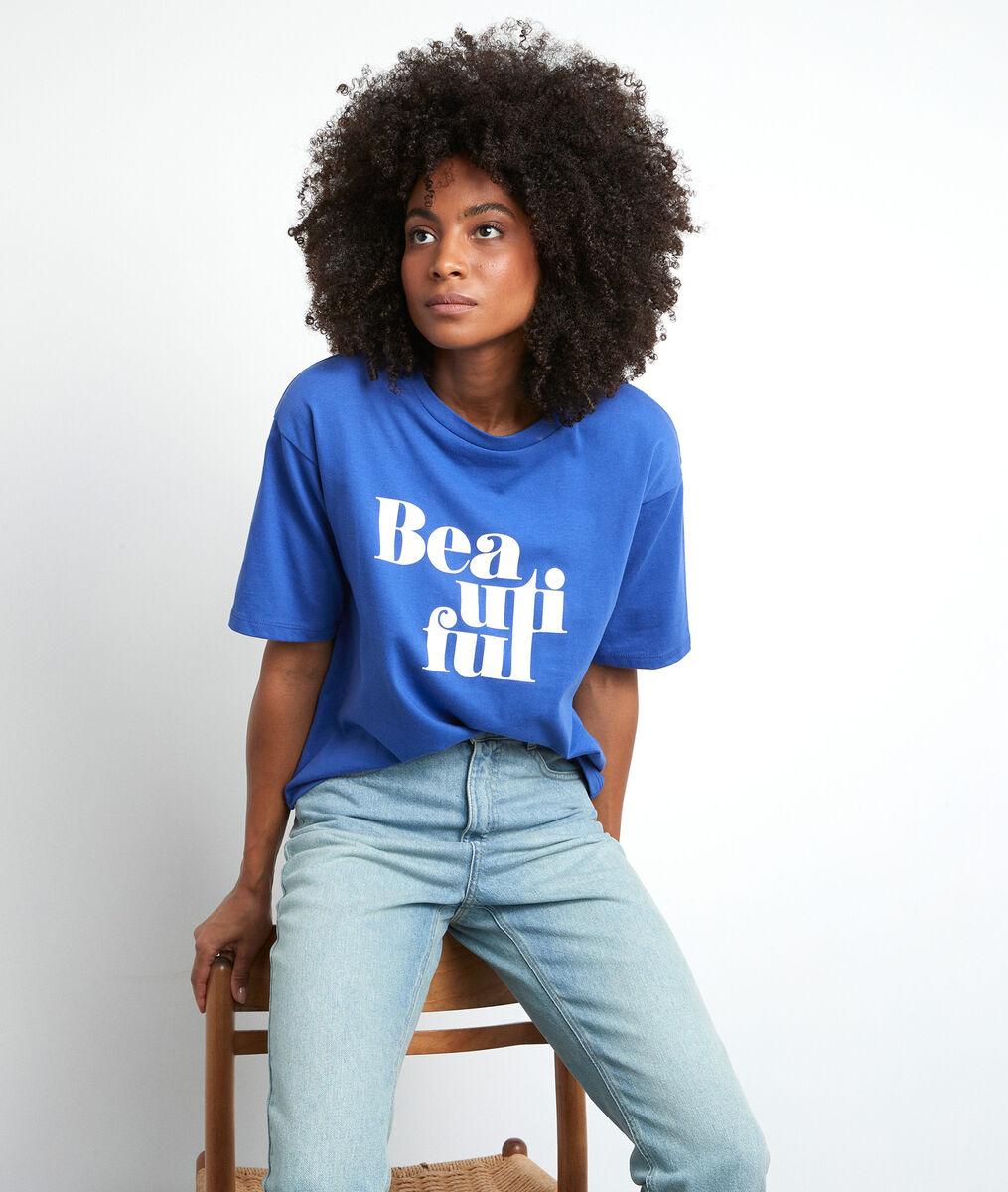 Tee-shirt sérigraphié en coton bio bleu Equateur PhotoZ   1-2-3