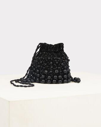 Pochette noire à perles forme bourse reine noir.