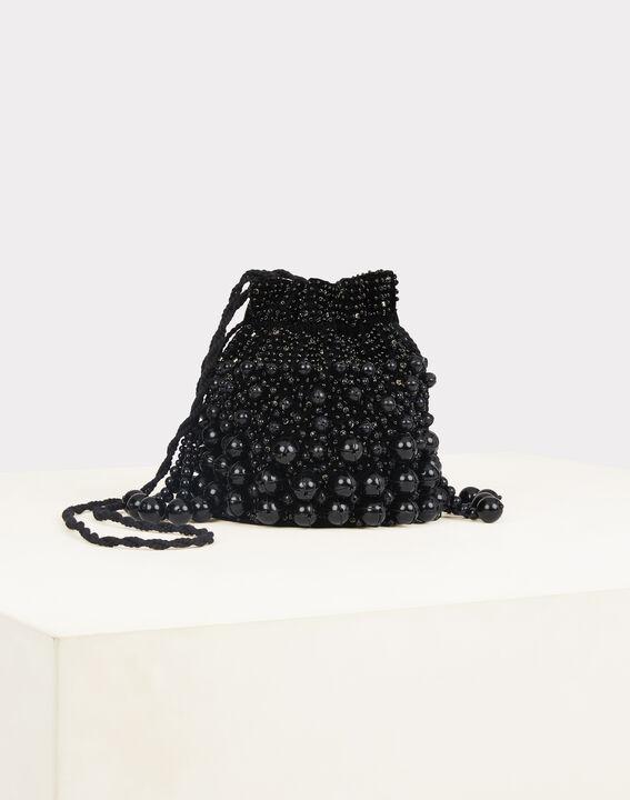 Pochette noire à perles forme bourse Reine (2) - 1-2-3