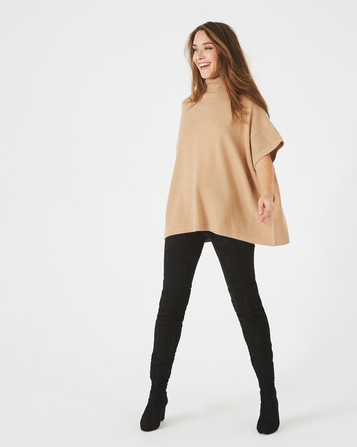 Passiflore camel cashmere cape with polo neck (1) - 1-2-3