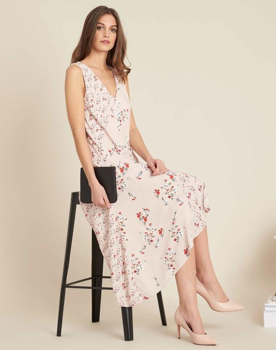 Impatiens nude floral mid-length dress (3) - 1-2-3